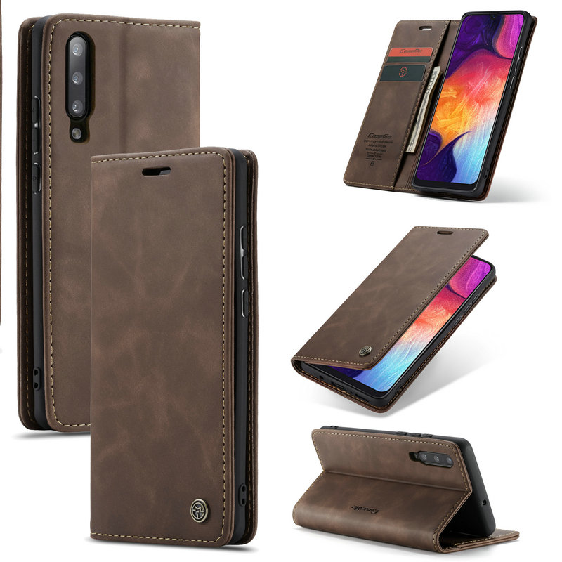 CaseMe For Samsung A50 A 50 Cases Magnetic Flip Leather Case Cover Wallet Card Slots Design Business Vintage Book For Galaxy A50