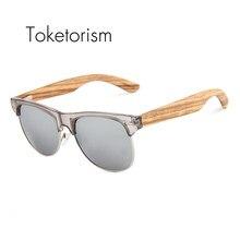 39dbc3391 Toketorism Retro Clássico Óculos De Sol Metade armação oculos Polarizados  óculos de sol óculos De Madeira de Madeira Natural par.