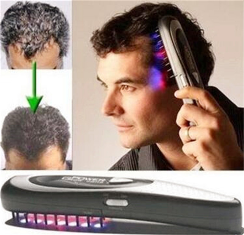 цена на Power laser hair growth Comb Home Hair brush grow laser hair Loss Therapy comb regrowth device machine ozone infrared Massager