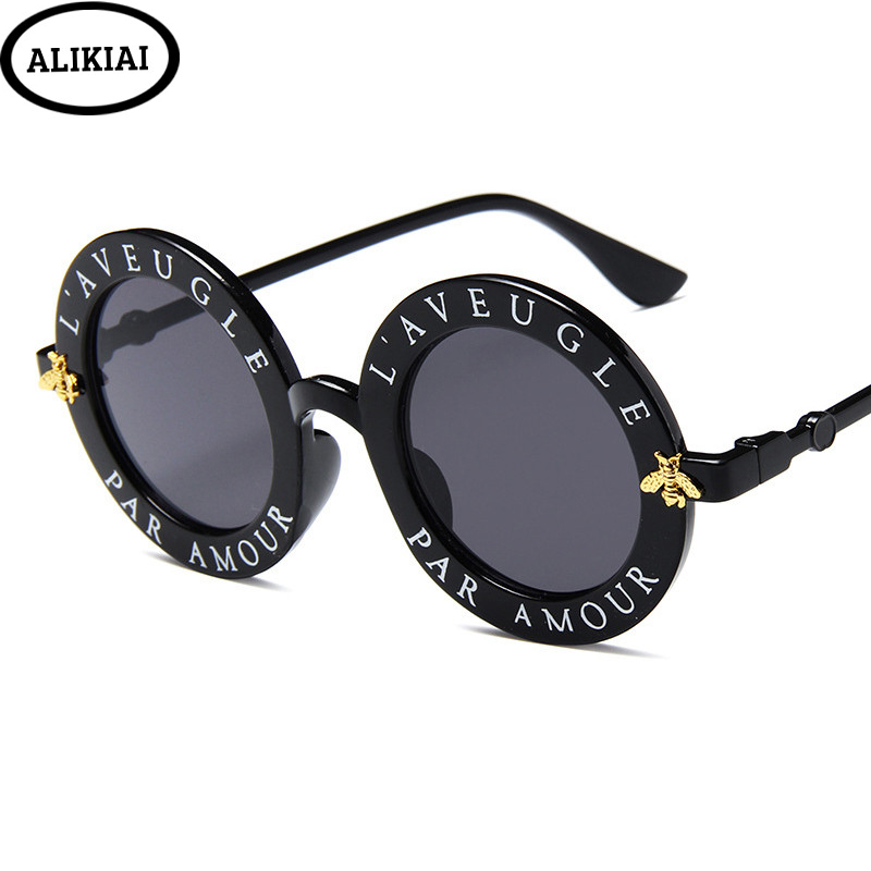 Men Women Round Glasses UV400 Retro Round Sunglasses English Letters Little Bee Sun Glasses