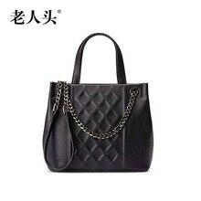 LAORENTOU new genuine leather bag famous brand Lingge fashion Superior cowhide leather women handbags shoulder bag