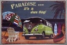 1 pc Van Summer vacation surfing island sea Beach Paradise ocean Tin Plates Signs wall Shop Decoration Art Poster metal vintage