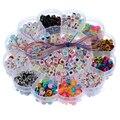 Mjartoria 1 caixa mistos diy cords acrílico alfabeto beads para fazer jóias contas de inteligência das crianças set kit acessórios 15.5 cm