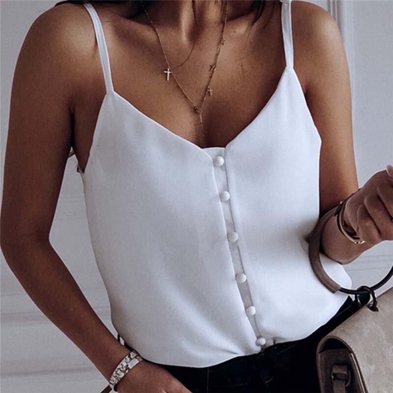 Women Casual Summer Top Sleeveless Off Shoulder Vest Ladies Plain Tank V Neck Loose Debardeur Femme Camisa Feminina