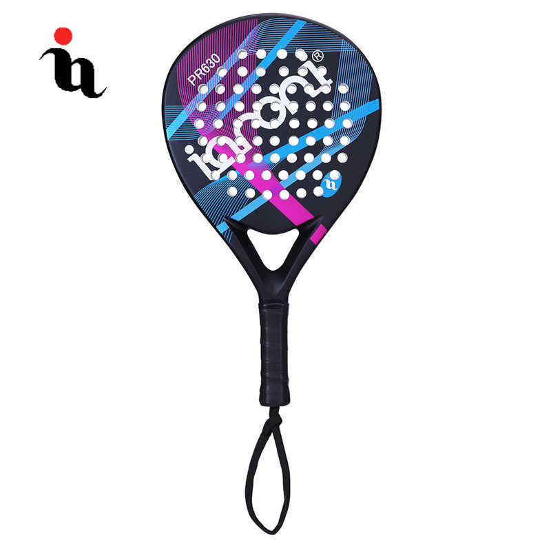 IANONI PaddleBall Racket Men Sports Padel Raqueta Contrast Color Pattern Full Carbon Fiber EVA Professional Overgrip Cricket Bat
