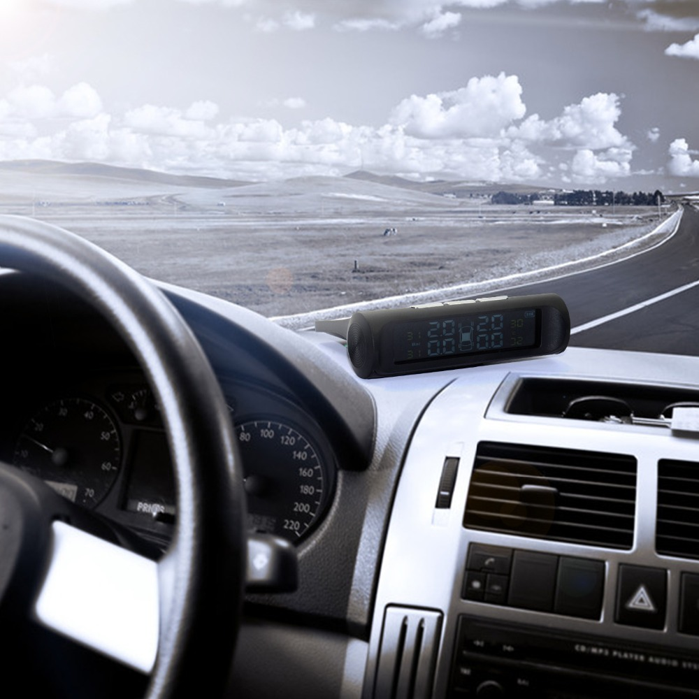 Professional Solar TPMS Car Tire Pressure Alarm Monitor System Display 4 External Sensors Temperature Warning Fuel Save 14
