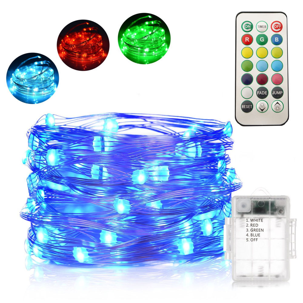 HarrisonTek 13 Colors RGB Holiday Lights Battery Remote Control LED Twinkle Lights Garden Party Christmas Lights Indoor Oudoor ...