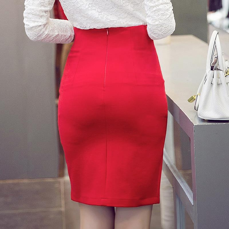 3c5f94f352 Women High Waist Pencil Skirts Red Black Plus Size S 5XL OL Work Wear  Office Bodycon Slim Breasted Slit Knee Length Skirt -in Skirts from Women's  Clothing ...