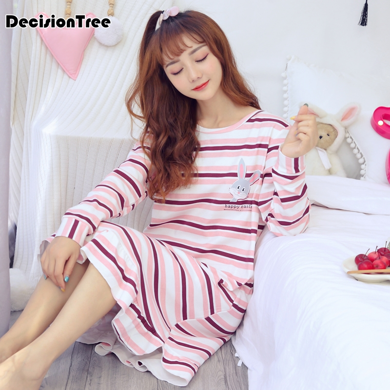 2019 new arrivals vintage   nightgowns     sleepshirts   soft home dress lace sleepwear solid sleep & lounge cotton   nightgown   female