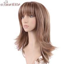 S-noilite 4 дюймов-26 дюймов короткий парик синтетические парики для афроамериканских черных женщин парики с челкой длинные черные Омбре коричневый