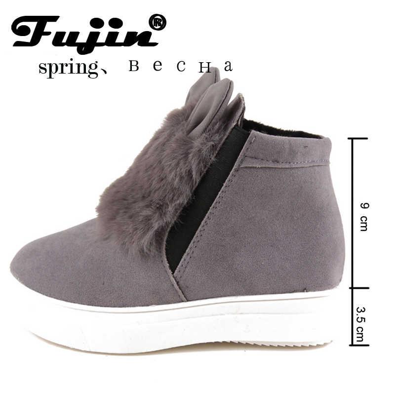 2020 ilkbahar sonbahar Fujin kadın platformu kulakları ile kadın kış ayakkabı çizmeler peluş slip için öğrenci ayakkabı kadın sıcak bota