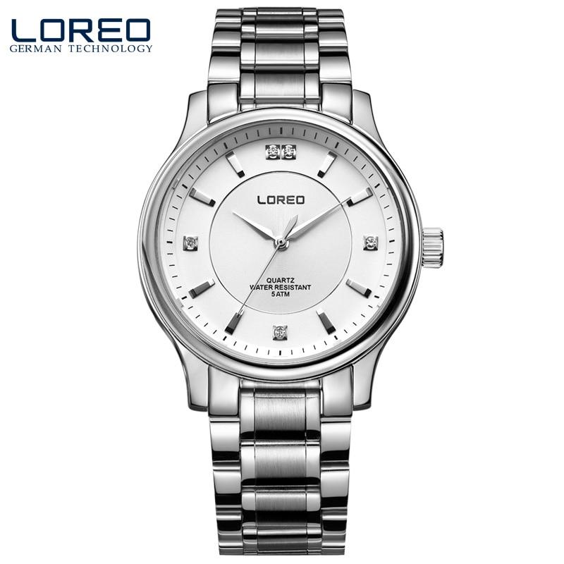ФОТО LOREO Germany watches men luxury brand quartz watch water resistant 5ATM white stainless steel fashion business Diamonds
