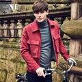Бесплатная Доставка Новая мода мужчина мужская человек тонкий вскользь 2016 вино красный осень зима сплошной цвет пальто куртки большой карман на молнии лацкане