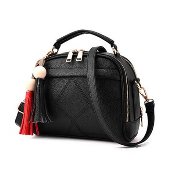 2017 New Women Small Leather Shoulder bags Girls Crossbody Messenger bag Ladies Handbag and Purse Femme Sac A Epaule bolso Black