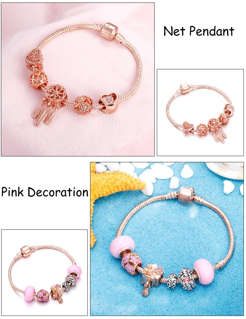 Rose Gold Bracelet Cherry Blossom Tassel Ball Crystal Bead Pendant Charm Trend Bracelets & Bangles For Women Jewelry Girl Gifts 4