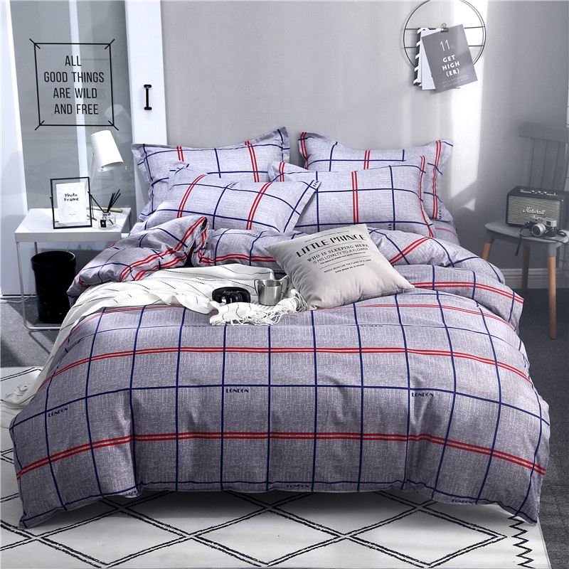 ParkShin Geometry Bedding Set Decor Home Textiles Plain Bedspread Duvet Cover Set Double Single Flat Sheet 3 4PCS Bed Linen Set in Bedding Sets from Home Garden