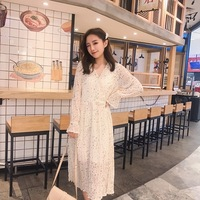 Early Spring Korean Style Women Dress A line Flare And Long Sleeve V neck Vestido Ankle length Print Womens Dresses Gentle