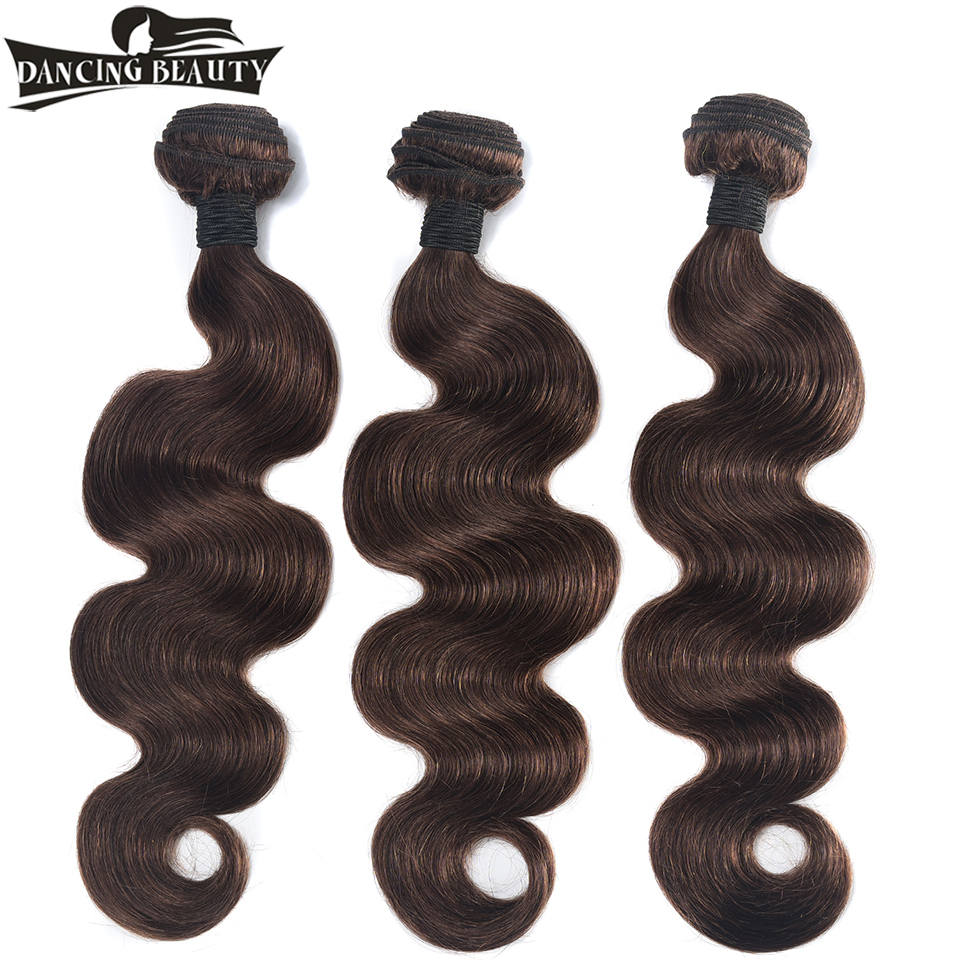 DANCING BEAUTY Pre-Colored Body Wave Hair Weave Bundles Human Hair Extensions #4 Color Non Remy Brazilian Hair 3 Pieces/lot