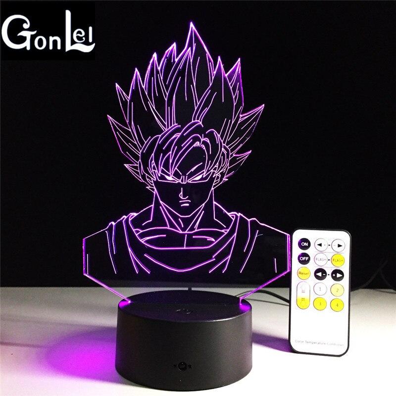 Gonlei Новинка Драконий жемчуг: Сон Гоку 3D светильник 7 Красочные светодиодный настольная лампа творческий сенсорный выключатель USB настольна...