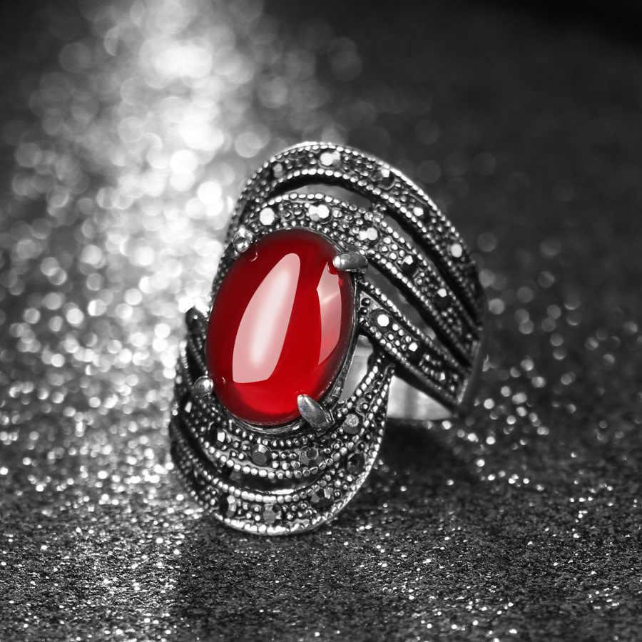 Vintage สีดำคริสตัลโอปอลแหวน Retro เครื่องประดับทองคำขาวแหวน punk Bijoux anel masculino bague femme บัลแกเรียแหวน