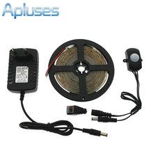 Automatic PIR Motion Sensor Switch LED Strip Set DC12V 5M SMD3528 LED Under Bed Light Bedroom Night Lights White/Warm White