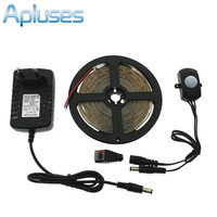 Automatyczny Czujnik Ruchu PIR Przełącznik Zestaw LED Strip DC12V 5 M SMD3528 LED Pod Światło Łóżko Sypialnia Lampki Nocne Biały/ciepły Biały
