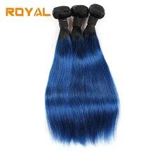 Предварительно окрашенные бразильские Ombre T1b / Blue Прямые 100% человеческие волосы волна 2/3 Bummdles гладкой Non Remy Royal волос Уток