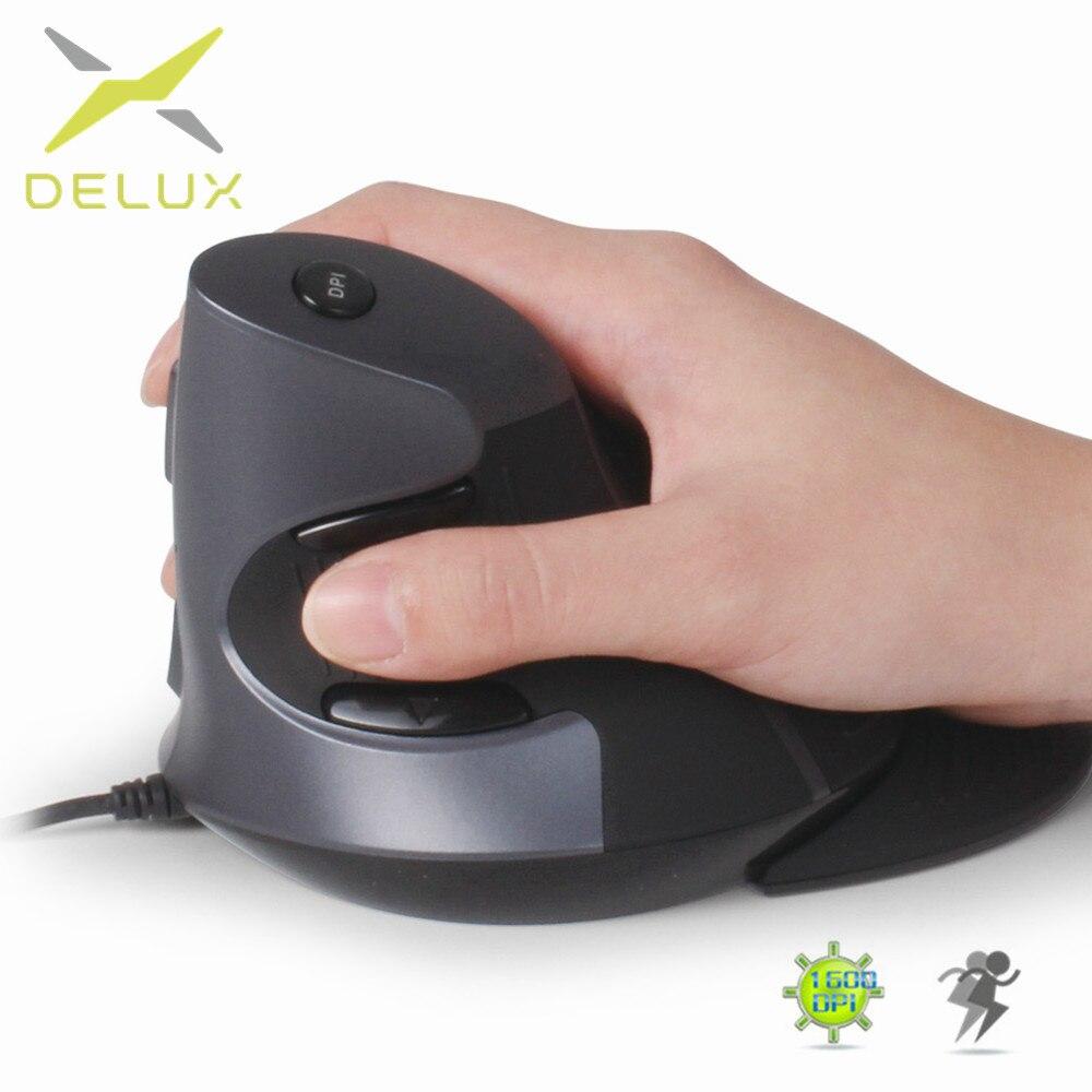 Delux M618 6 Botões Do Mouse Vertical Ergonômico Escritório 600/1000/1600 DPI Optical Ratos com Pulso Da Mão Direita mat Para PC Portátil