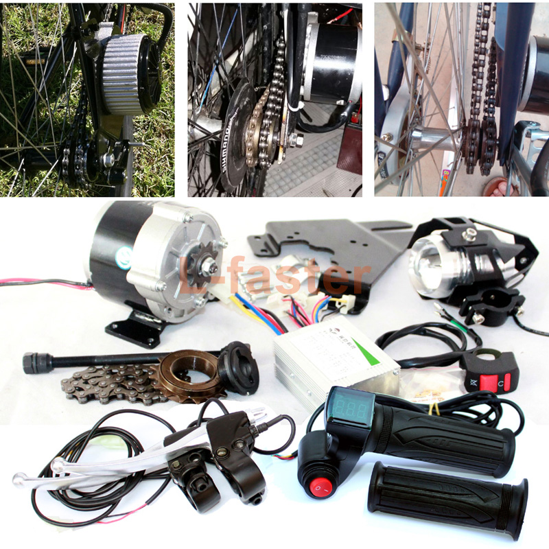 350W ELECTRIC BICYCLE COMPLETE PARTS EBIKE COMPONENTS LED LENS HEADLAMP THROTTLE HANDLE RED SWITCH BATTERY INDICATOR