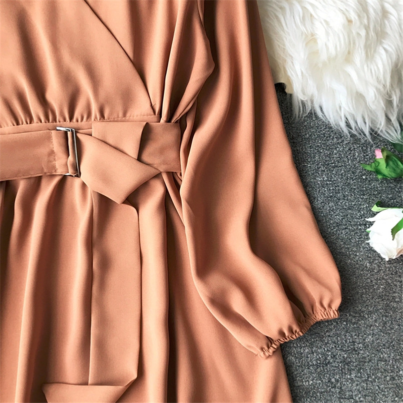 Fashion 2019 V Neck Spring Autumn Bandage Midi Long Dress Party Vestidos Women Casual Elegant Evening Tie Vestido de festa 6