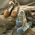 Zapatos de mujer de la llegada rústico solos zapatos planos femeninos de cuero genuino punta redonda zapatos de las mujeres del vendaje de la vendimia