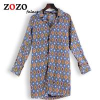 Falacs Zozo Ontwerp Herfst Winter Casual Vintage Office Lady Fashion Lange Blouses Shirts Vrouwen Geometrische Plaid Print Blouse Blusa