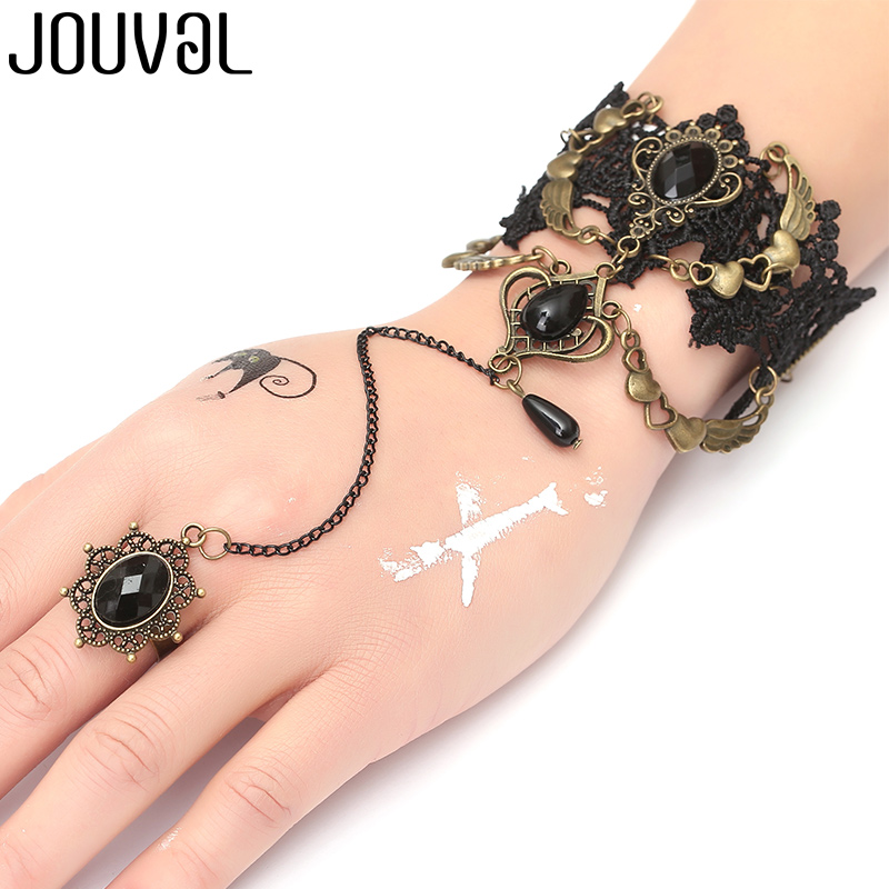 JOUVAL Gothic Bracelet for Women Black Lace Finger Hand Chain Bracelet Metal Crystal Rose Charm Steampunk Lady Vintage Jewelry bracelet
