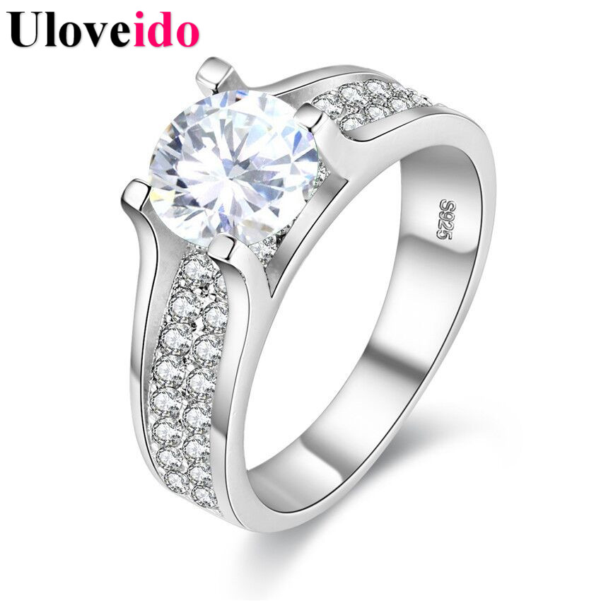 Uloveido White Women's Rings with Stones Vintage Jewelry Crystal Ring Female Anel Bijoux Size 10 Sale Mother's Day Gifts Y006