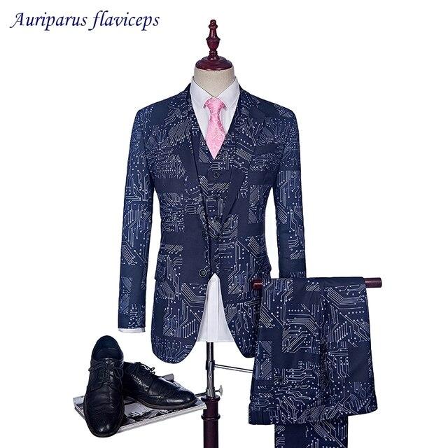 2018 3 Suit Blue Slim Fit Suits For Men Circuit board pattern ...