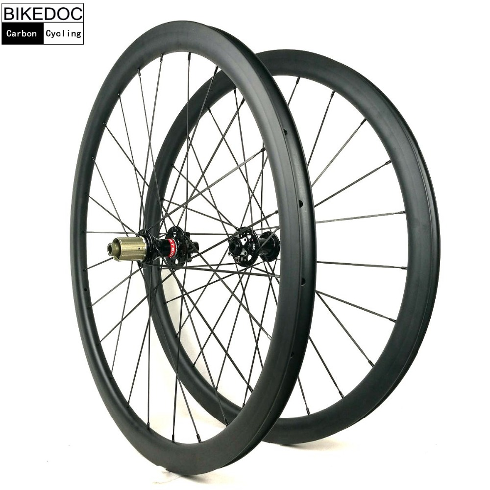 BIKEDOC 25MM Width Carbon Wheels 38MM Clincher Road Disc Wheel For 700C Bicycle 50mm carbon disc brake bicycle wheel set 700c 25mm carbon 38mm clincher wheelset for secure riding made in amoy trading company