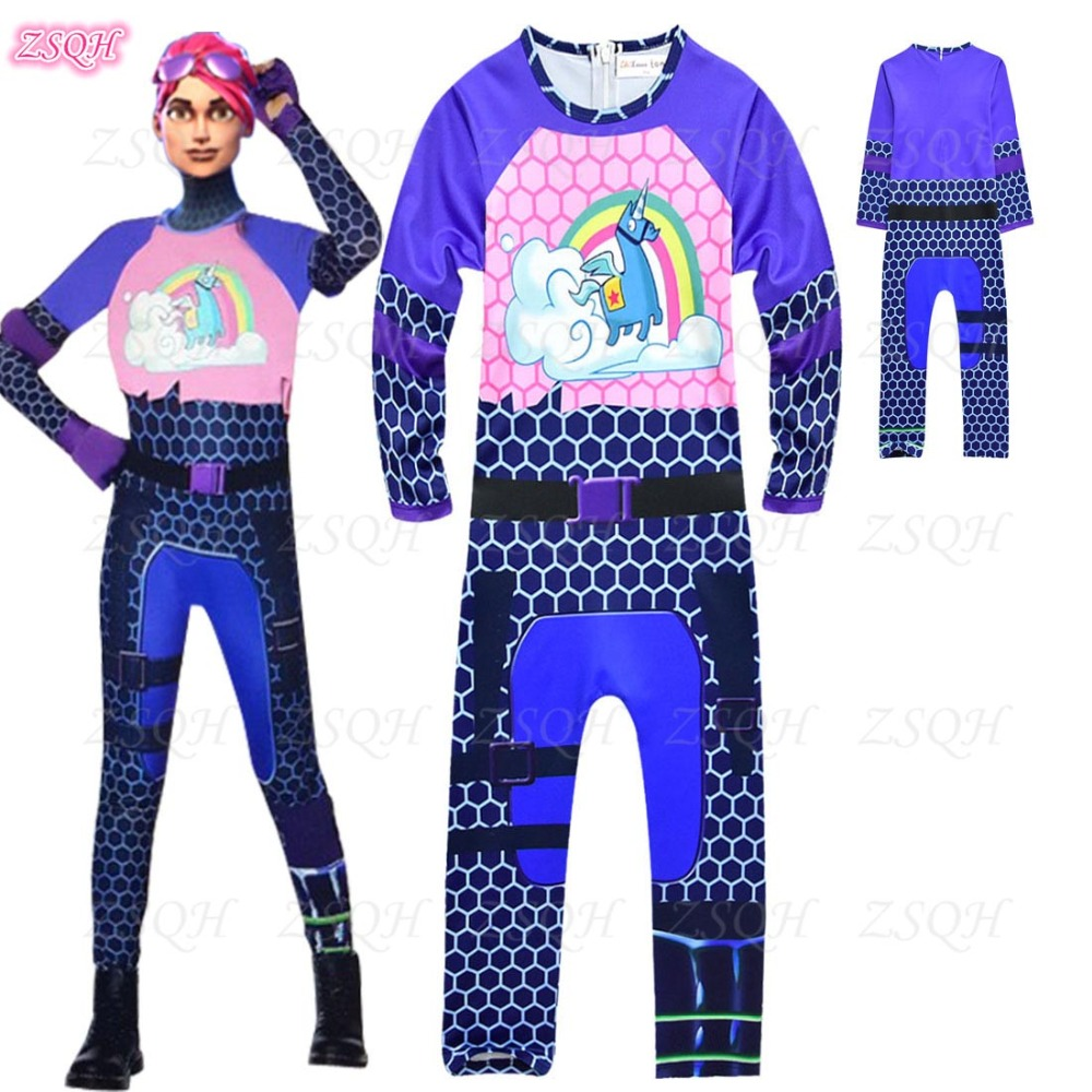 ZSQH Fortnit Jumpsuit Fortnight Cosplay Costume Battle Royale Fortress night fortnited cosplay costume for kids Rainbow Horse
