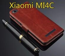 For Xiaomi Mi4C MI 4C Case Retro Wallet Leather Flip Cover M4i Mi 4i X9 / Mi4c 4c Stand Function Three Card Holder
