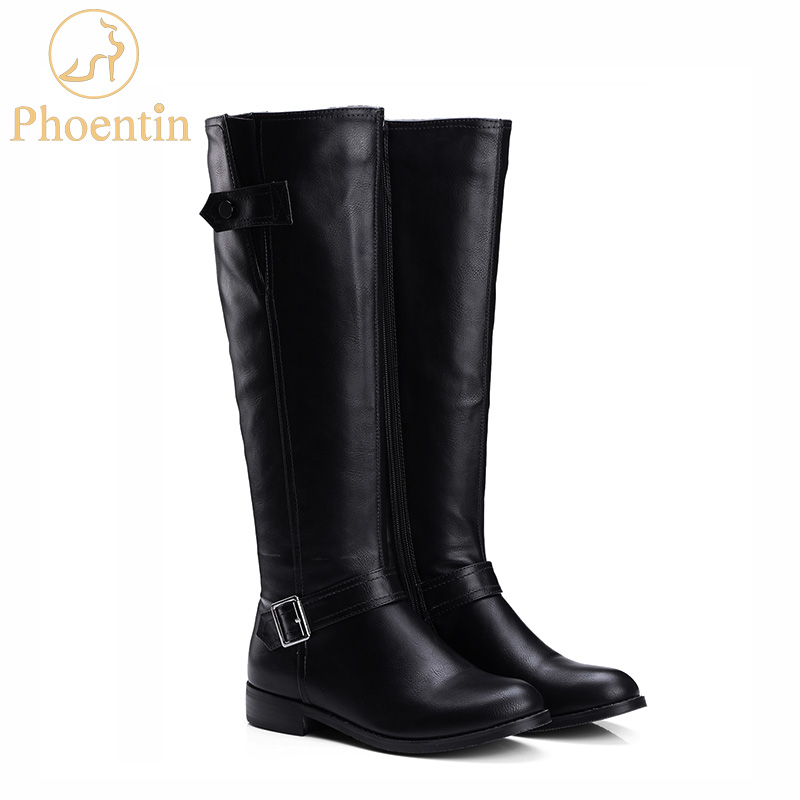 Phoentin mid calf boots for women brown 2019 PU leather long boots woman with zipper flat