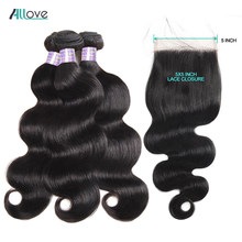 Allove Brazilian Body Wave Hair With Closure Free Part 5X5 Lace Closure With Bundles Human Hair Bundles With Closure Non Remy(China)