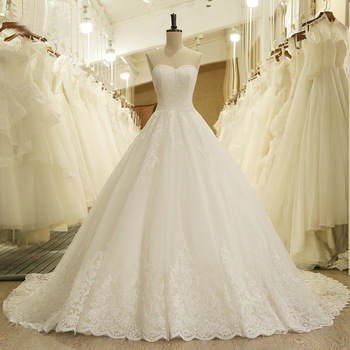 White Lace Appliques Ball Gown Wedding Dresses 2019 Sweetheart Beaded Princess Bride Dresses robe de mariee