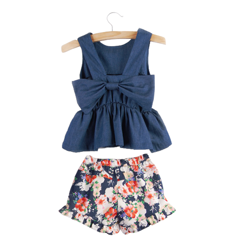 204f0f1b3b5 2019 new summer teenage girls sleeveless bow t-shirt print short pants 2  pcs sets