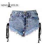 Sino Felix Cool Denim Jeans For Girl High Waist Summer Beach Side Lace Up Thigh Fringe