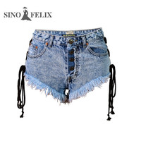 Sino Felix Cool Denim Jeans for Girl High Waist Summer Beach Side Lace up Thigh Fringe Jeans Feminino Sexy Mini Shorts Buttoms