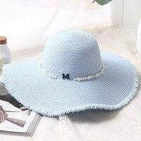 Summer New M Alphabet Pearl Burr Straw Hat Woman Sunscreen Sun Hat Seaside Holiday Big Hat