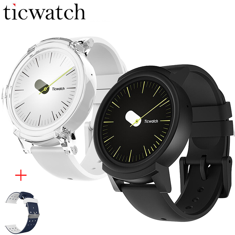 D'origine Ticwatch E Expres Montre Smart Watch Android Wear OS MT2601 Dual Core Bluetooth 4.1 WIFI GPS Smartwatch Téléphone + Un livraison Sangle