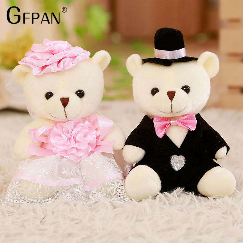 2pcs/lot 18cm Kawaii Teddy Bear New Styles Soft Plush Toys Cute Couple Stuffed Animal Baby Doll Fantasy Wedding Birthday Gift