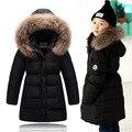 2016 Зимняя куртка девушки ребенок grls вниз пальто парки твердые длинные молнии с капюшоном мех дети вниз куртки девушки верхняя одежда пальто