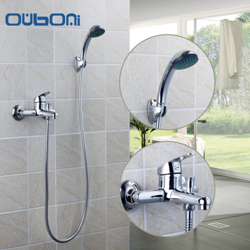 OUBONI Bathtub Torneira Wall Mounted Chrome Brass Body 97098 +ABS Shower Handheld Driver Bathroom Sink Brass Faucet,Mixer Tap free shipping polished chrome finish new wall mounted waterfall bathroom bathtub handheld shower tap mixer faucet yt 5333