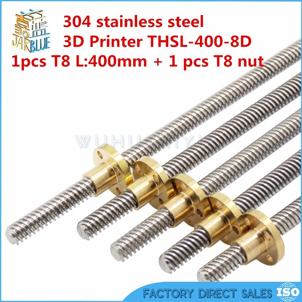 Free shipping RepRap 3D Printer THSL-400-8D T-type stepper motor Lead Screw Dia 8MM Thread 8mm Length 400mm with Copper Nut